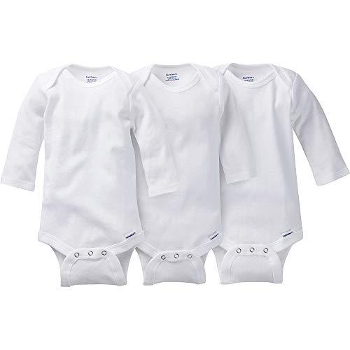 Gerber Kid's 3-Pack Long-Sleeve Onesies Bodysuit Pants, White, 3T
