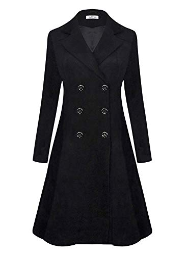 APTRO Women's Winter Dress Coats Wool Blend Double Breasted Long Peacoat XL WS02 Black