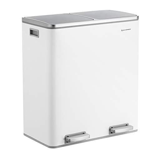 SONGMICS Dual Step Trash Can, 2 x 30L Recycle Bin, Pedal Bin with Dual Compartments, Plastic Inner Buckets and Hinged Lids, Handles, Soft Closure, Airtight, White ULTB60WT