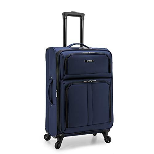 U.S. Traveler Anzio Softside Expandable Spinner Luggage, Navy, Checked-Medium 26-Inch