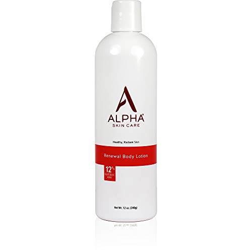 Alpha Skin Care Renewal Body Lotion   Anti-Aging Formula  12% Glycolic Alpha Hydroxy Acid (AHA)   Reduces the Appearance of Lines & Wrinkles   For All Skin Types   12 Oz