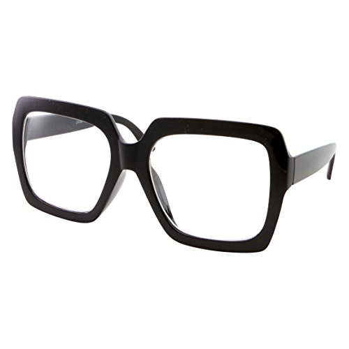 XL Black Thick Square Oversized Clear Lens Glasses - Men and Women Costume or Fashion - Black