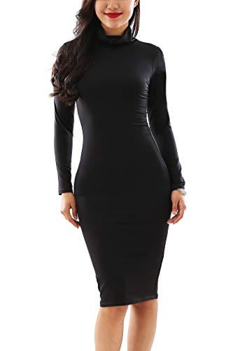 YMING High Neck Dress for Women Fall Fashion Dress Evening Party Dress Black XL