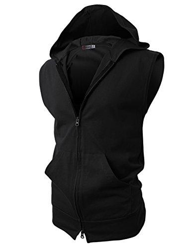 H2H Mens Sleeveless Fashion Hoodies Zip-up with Pocket Black Asia XXL (JPSK13_N25)