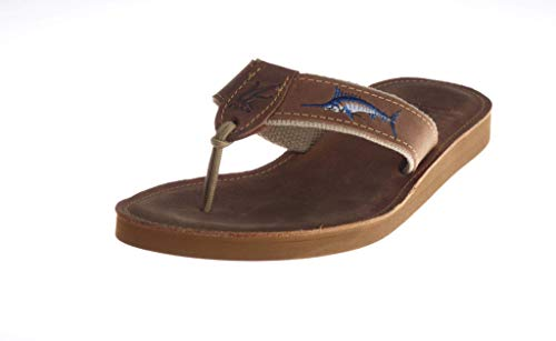 Ocean Rider Embroidered Genuine Leather Sandal | Various Aquatic Designs | Ocean Themed | Fishing & Sportsmen | Non-Slip Rubber Sole | Made in The USA Size-12 Brown