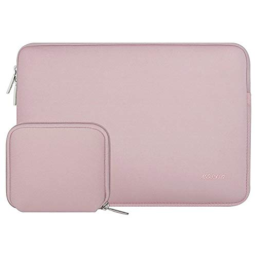 MOSISO Laptop Sleeve Compatible with MacBook Air 13 inch M1/A2337 A2179 A1932, MacBook Pro M1/A2338 A2289 A2251 A2159 A1989 A1706 A1708, 12.9 iPad Pro,Neoprene Bag Cover with Small Case, Baby Pink