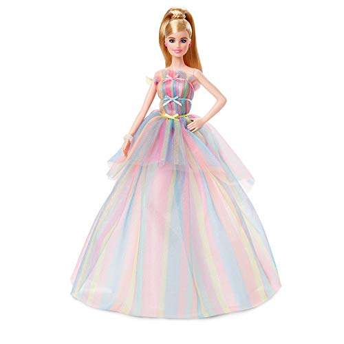 Barbie Signature Birthday Wishes Doll, Approx. 12-in Blonde in Rainbow Dress, Multi