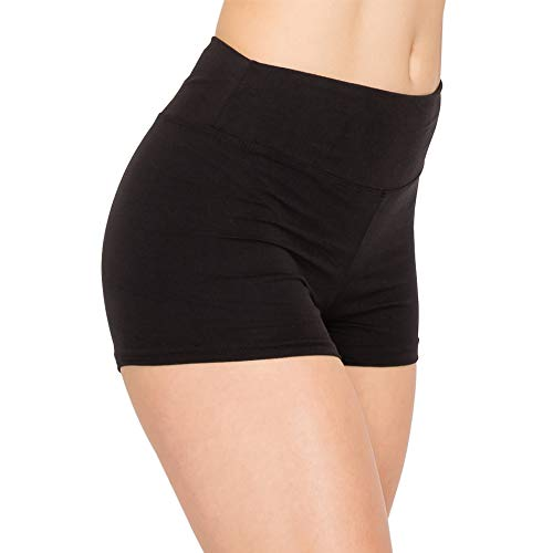 ALWAYS Women Workout Yoga Shorts - Premium Buttery Soft Solid Stretch Cheerleader Running Dance Volleyball Short Pants Black S