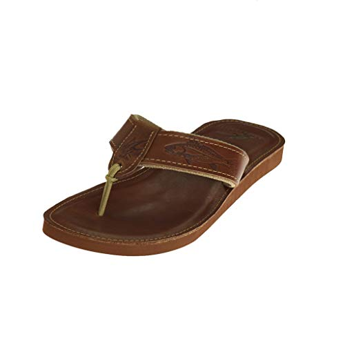 Ocean Rider Embossed Genuine Leather Sandal | Various Aquatic Designs | Ocean Themed | Fishing & Sportsmen | Non-Slip Rubber Sole | Made in The USA Size-9 Brown