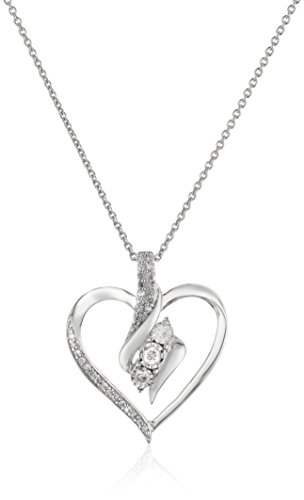 Sterling Silver Diamond 3 Stone Heart Pendant Necklace (1/4 cttw), 18'