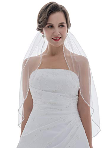 SAMKY 1T 1 Tier Crystal Pearl Beaded Edge Bridal Wedding Veil - White Elbow Length 30' V573