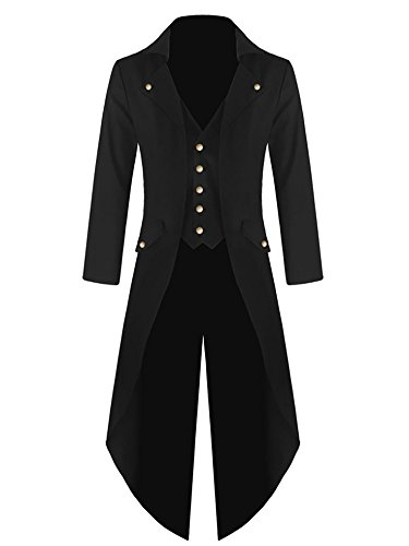 Makkrom Mens Steampunk Gothic Jacket Victorian Tailcoat Vintage Halloween Costume Tuxedo Coat Uniform Black