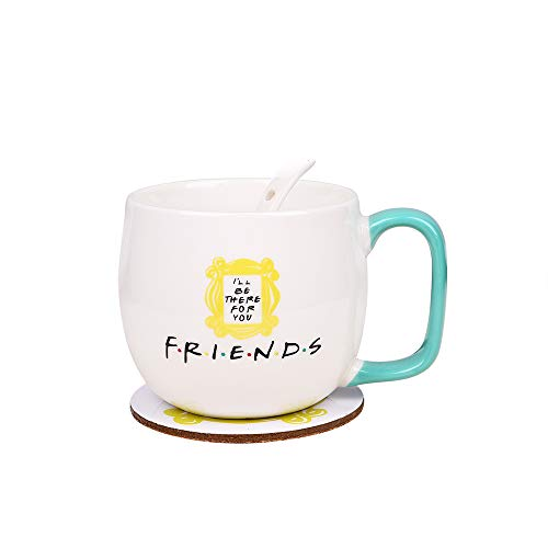 Friends TV Show Merchandise Peephole Yellow Frame Coffee Cup &Mugs Milk Cup Monica's Door Frame 1Cup + 1 Spoon + 1 Coaster Great Present for Fan!Ready to Hang.…