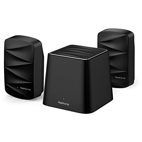 Meshforce M3 Mesh WiFi System, Up to 4,500 Sq.ft Coverage, AC1200 Gigabit Routers for Wireless Internet, Mesh WiFi Router Replacement, App Control, Guest Network, Parental Control(Midnight Black)