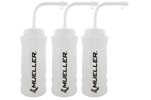 Mueller Quart Bottle w/ Straw (New Design), Natural Color w/ Black Letters (3-Pack)