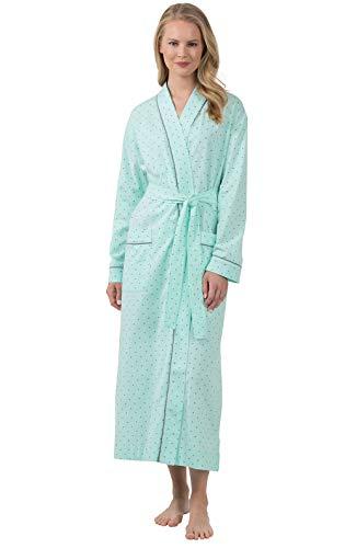 PajamaGram Womens Robes Long Soft - Women Robe Classic Cotton, Mint, 1X 16-18