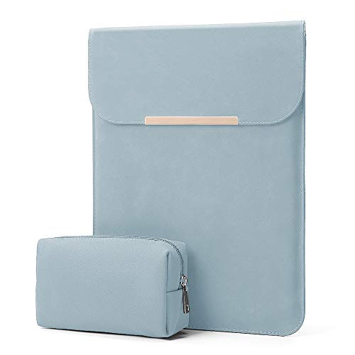 KALIDI 13.3 inch Laptop Sleeve Case Faux Suede Leather for MacBook Air Pro Retina 2016-2020, for 13'-13.5' Surface Pro 5 6 7 with Pouch (for 13.3 inches MacBook/Pro/Air, Sky Blue)