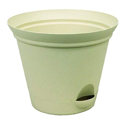 Misco Modern Round Flared Self-Watering Planter with Ventilated Base, 13.8-Inch Diameter, Latte