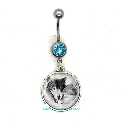 Love Wolf Belly Ring for Couples Lover Grey Natural Animal Jewelry Glass Cabochon Belly Button Ring Chain Neckless Valentine's Day Gifts,Q0221