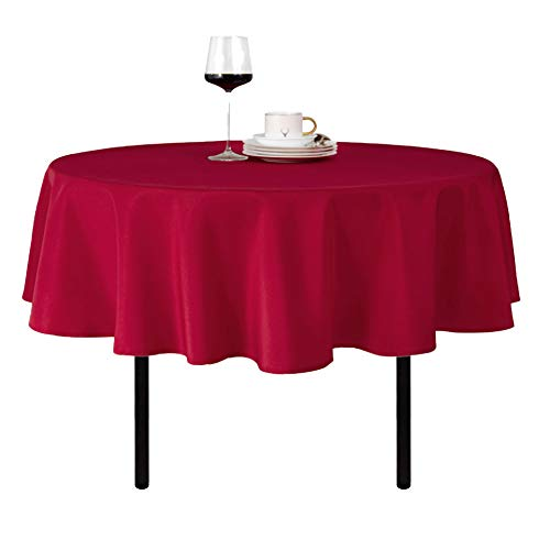 Round Tablecloth Waterproof Stain Resistant and Wrinkle Free Christmas Table Cloths Washable Polyester Table Cover (70 inch, Red)