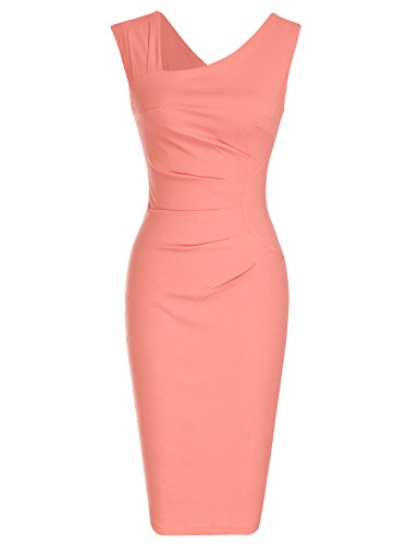MUXXN Lady Cut V Neck Ruched Package Hip Formal Business Dress (Peach L)