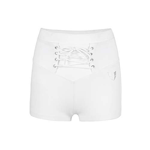 V LOVEFIT Women's Comfy Fitness Exercise Active Shorts (XL/Waist:31½-33½', White)