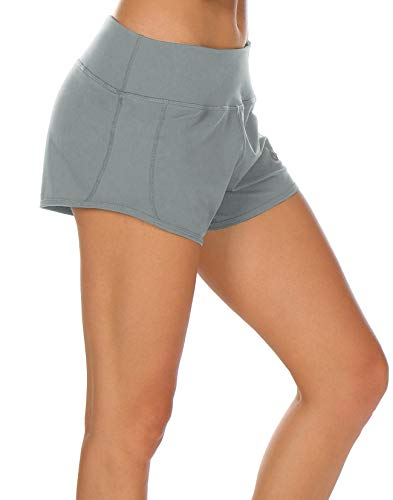 icyzone Athletic Shorts Built-in Brief - Women's Workout Gym Exercise Running Yoga Shorts (XL, Gray)