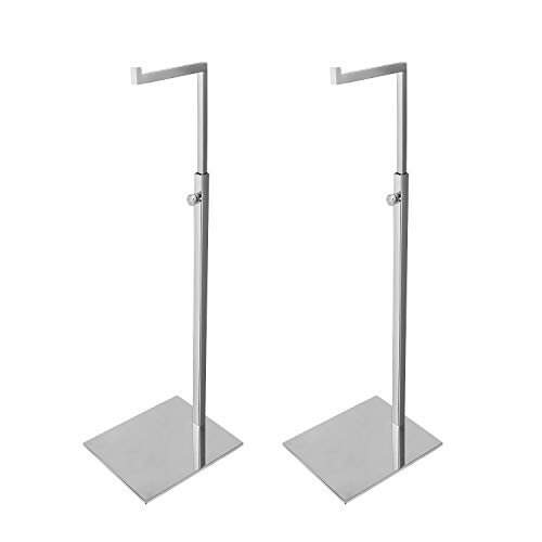 Elitnus Set of 2 Chrome Purse Display Stand - Adjustable Height Countertop Silver Handbag Display Stands - Metal Single Hook Hanging Clutch Bag Display Holder