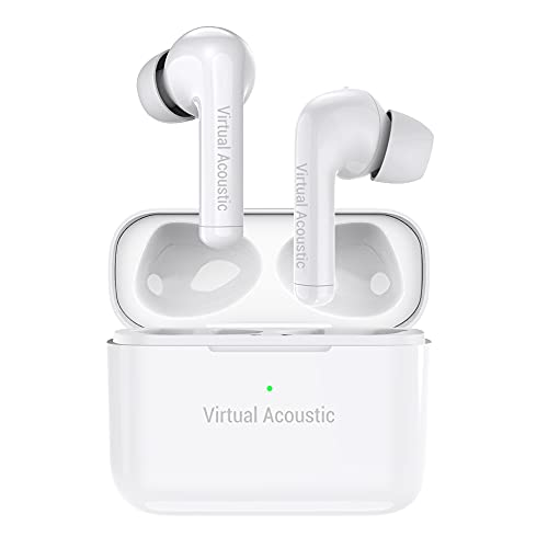 Virtual Acoustic Earbuds Hybrid Active Noise Cancelling Wireless Bluetooth Transparency Mode with Microphones Hybrid ANC Earphones TWS with 4 Mics Waterproof 30Hrs Playtime