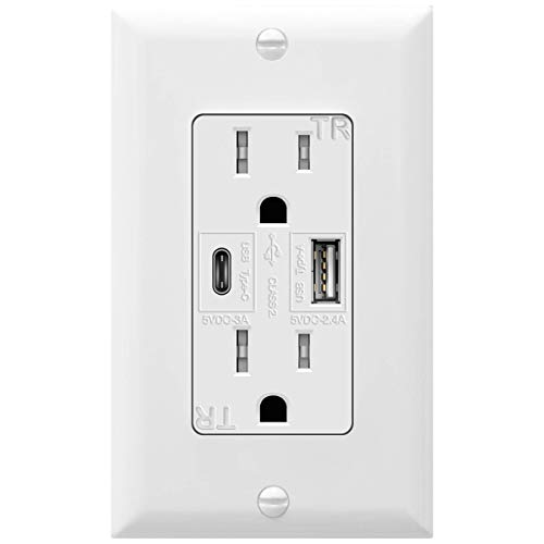TOPGREENER 5.8A Ultra-High-Speed USB Type C/A Wall Outlet Charger, 15A Duplex Tamper-Resistant Receptacle Plug, Charging Power Outlet with USB Ports, Electrical USB Socket, UL Listed, TU21558AC, White