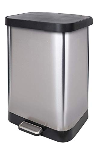 Glad 13 Gallon Stainless Steel Step Trash Can with Clorox Odor Protection of The Lid | Fits All 13G Garbage Waste Bags