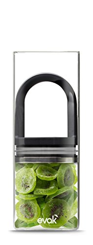 Prepara, Black Gloss handle, Evak Fresh Saver Airless Canister, Glass & Stainless, Large