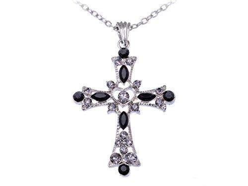 Alilang Gothic Black Rhinestone Inspirational Crystal Holy Cross Love God Heart Pendant Necklace