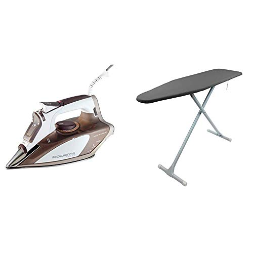 Rowenta DW5080 1700-Watt Micro Steam Iron Stainless Steel Soleplate with Auto-Off, 400-Hole, Brown & Homz Ironing Board T-Leg, Charcoal Grey