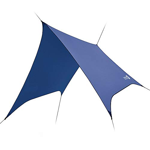 Easthills Outdoors Dragonfly 100% PU 2000mm Waterproof Ultralight 15D Ripstop SilNylon Backpacking Hammock Rain Fly Camping Shelter Canopy Tarp Large Hex Cut Blue (10 ft x 8 ft - 17.5 oz)