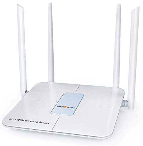 Wireless Router 1200Mbps Long Range Wifi Router AC High Speed Dual Band Router with 4 LAN Ports for Home Office Internet Router with Wifi Extender for 2.4 GHz, White 5Ghz WiFi Router