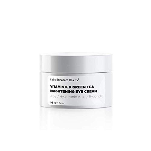 HD Beauty Vitamin K & Green Tea Brightening Eye Cream for Undereye Circles, Puffiness, and Fine Lines with Hyaluronic Acid and Organic Aloe Vera, 0.5oz