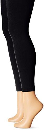 MUK LUKS Women's Fleece Lined 2-Pair Pack Leggings, Black/Black, Small