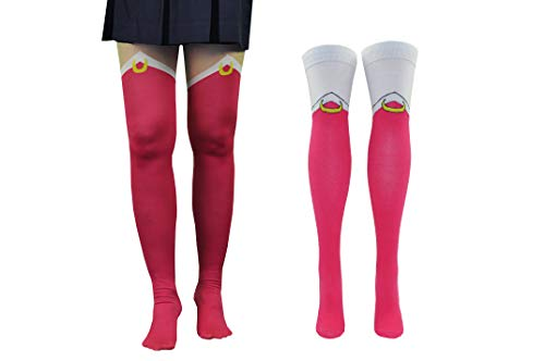 Sailor Moon Tights Socks Cosplay (2 Pair) - (Women) Sailor Moon Tights Over the Knee Thigh High Socks (S/M) - Fits Shoe Size: 4-10 (Ladies)
