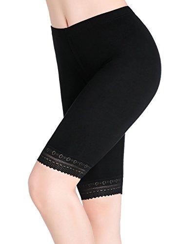 Womens Under Skirt Pants Soft Ultra Stretch Lace Trim Knee Length Leggings Fitness Sport Shorts