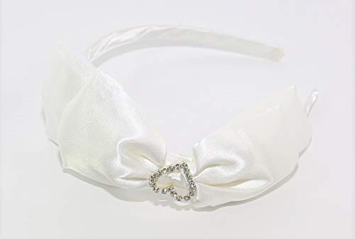 Mud Pie Toddler Girl Satin Heart Hard Headband (White Only)
