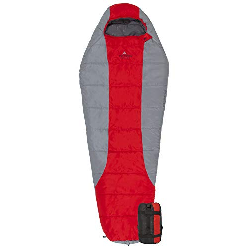 TETON Sports Tracker 5 Lightweight Mummy Sleeping Bag; Great for Hiking, Backpacking and Camping; Free Compression Sack Red/Grey, Adult - 87' x 34' x 22'