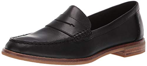 Sperry Womens Seaport Penny Nubuck Loafer, Black, 9.5