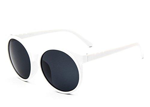 Chezi Women's Plastic Full Frame Iridium Mirrored Circle Lens Round Sunglasses (white+grey)