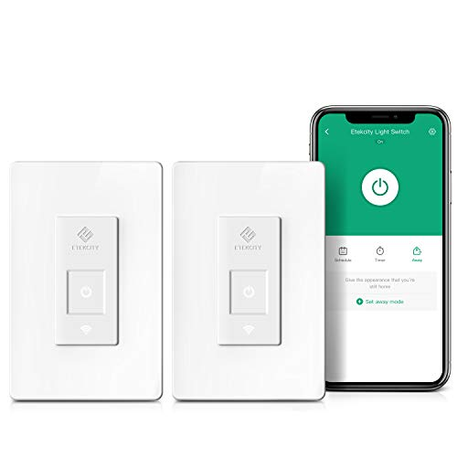 Smart Light Switch by Etekcity, WiFi Inwall Switch with Timer, Works with Alexa, Google Home and IFTTT, No Hub Required, Guided Installation, 15A/1800W, ETL/FCC Listed (2 Pack)