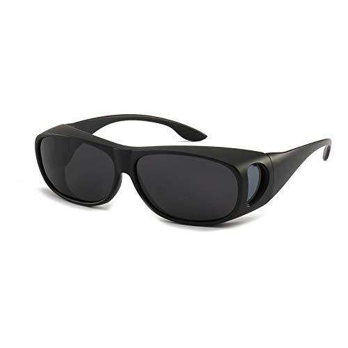 HD Unisex Day Driving Wrap AroundPrescription Glasses Anti Glare Sunglasses with Polarized Lens for Man and Women (sand black frame black lens)