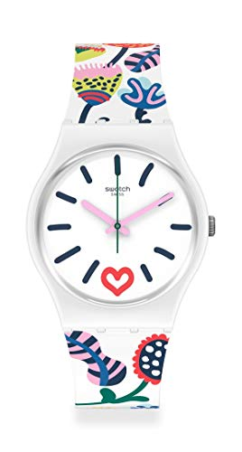 Swatch Lovely Garden Swiss Quartz Silicone Strap, White, 16 Casual Watch (Model: GW213)