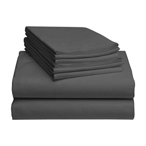 LuxClub 6 PC Sheet Set Bamboo Sheets Deep Pockets 18' Eco Friendly Wrinkle Free Sheets Hypoallergenic Anti-Bacteria Machine Washable Hotel Bedding Silky Soft - Dark Grey Queen