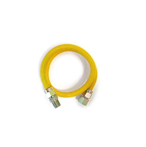 EZ-Fluid 48' Yellow Epoxy Coated 3/4'MIP x 3/4'FIP (1'OD) High Flow,Hight Btu Full Port Gas Flex Line,Flexible Gas Connector Hose Supply For Commercial,Residential Tankless Water Heater(1