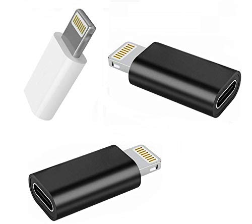 3Pack USB to Lightning Adapter Apple Lightning to USB C Adapter for iPhone iPad Lightning Female to USB C Male Adapter Compatible with iPhone 12/11 Pro/SE/X/XR/XS/8/7 Plus Support Charger + Data Sync